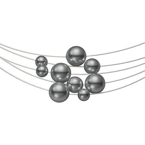 Heideman aus Edelstahl Silber farbend matt Kette für Frauen mit Perle dunkel grau rund 10,8,6mm Perlenschmuck Brautschmuck