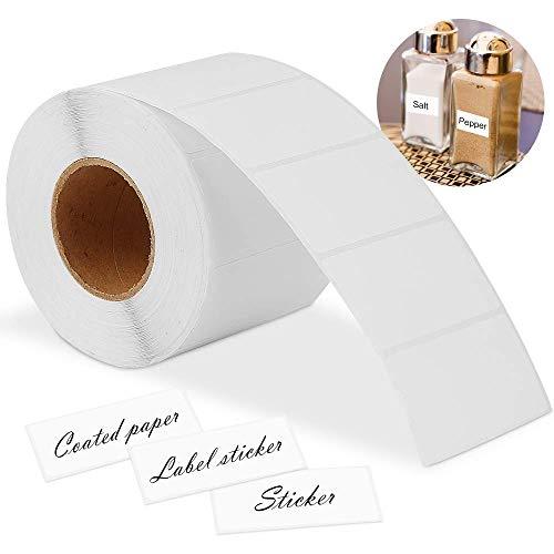 VOARGE 2000 etiketten zelfklevend huishoudsetiketten blanco op rol 6x3 cm plaketiketten, etiketten blanco op rol diepvriesetiketten witte stickers voor kantoor keuken jam