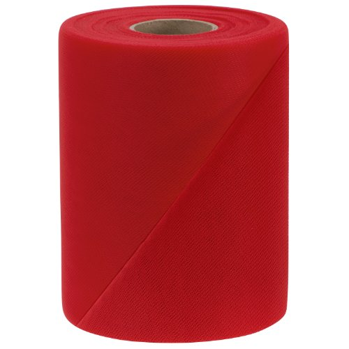 Falk Fabrics Tulle Spool, 6-Inch by 100-Yard, Red