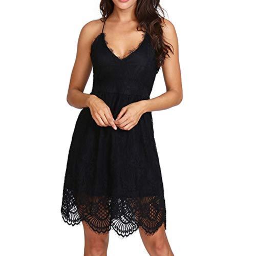 NPRADLA Sommerkleid Damen Kurz Tunika Kleid V-Ausschnitt Volant Lockeres Swing Mini Kleider