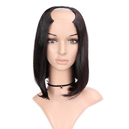 En forme de U Partie Demi Perruque de Cheveux Extension de Cheveux Remy Court Cheveux Raides Synthétique Clip en postiche Véritable Cheveux Humains Naturel Couleur 10 pouces