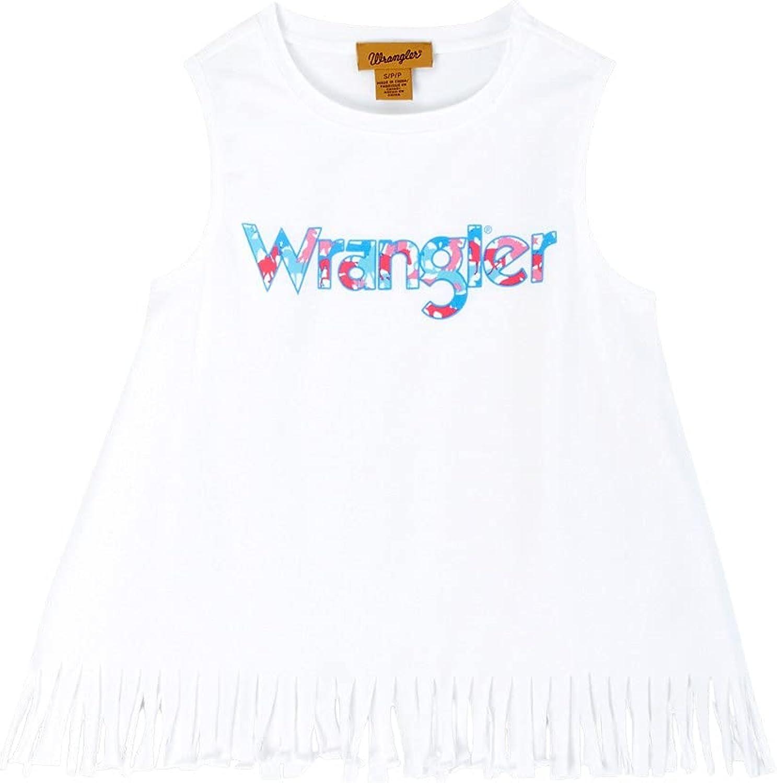Wrangler Girls' Logo Fringe Tank Top White XX-Large
