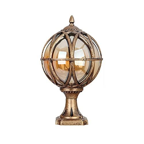 Lámpara de columna de bola a prueba de herrumbre Lámpara de columna de bola a prueba de herrumbre Lámpara de luz de jardín al aire libre europeo Vintage Accesorio de iluminación de paisaje Luces
