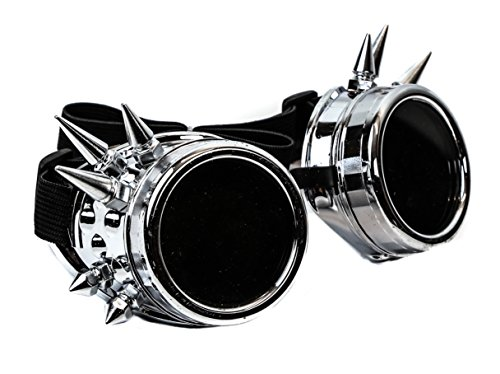 Silver Spike Goggles Sunglasses Cosplay Aviator Steampunk Gothic Burning Man