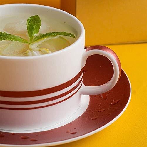 Juegos de té de Porcelana Plato de Taza de café Espresso Simple Taza de café de Frambuesa con Leche de cerámica Ligera Té de la Tarde inglés Té Negro Juego de té