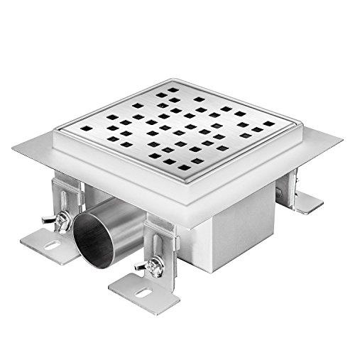 Zelsius Moderne Edelstahl Duschrinne   Verschiedene Modelle und Größen für ebenerdige Dusche   quadratischer Bodenablauf, Duschablauf, Bodenrinne (Elliston, 15 x 15 cm)
