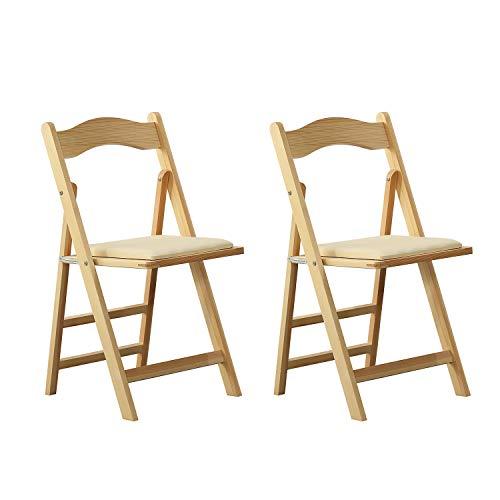 ARCALT Klappstuhl Esszimmerstuhl Holzstuhl für Küche (Ecru-2)