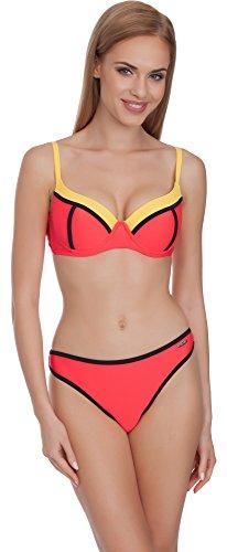 Merry Style Conjunto Bikini Sujetador y Bragas Traje de Baño 2 Piezas Mujer MS75 (Rojo/Amarillo, 38)