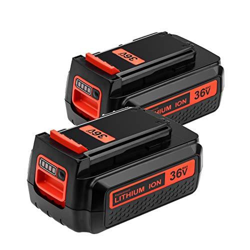 2 Pack LBX2040 2500mAh 36V MAX Remplacement Batterie pour Black et Decker 36V Batterie LBXR36 LBXR2036 LST540 LCS1240 LBX1540 LST136W Outil Electrique Sans Fil