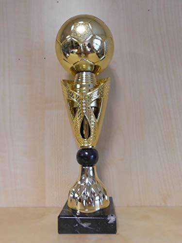 Fanshop Lünen Kicker - Fußball - Tischfußball - Pokal mit Ball - (Gold) - Pokale - Turnier - Kids - Trophäe - Sportpokale - mit Gravur - (A326) -