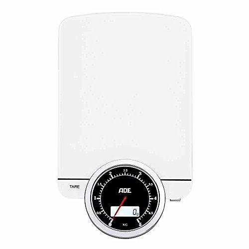 ADE Digitale Küchenwaage KE 1500 Alba. Elektronische Waage mit Dual-Display mit Ziffernblatt und digitalem Display. Präzise wiegen bis 5kg, Zuwiegefunktion Tara, Sensor-Touch, inkl. Batterie. Weiß