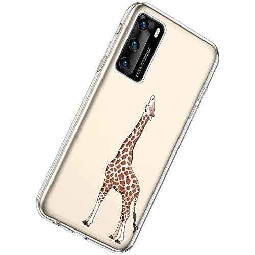 Herbests Kompatibel mit Huawei P40 Hülle Silikon Weich TPU Handyhülle Durchsichtige Schutzhülle Niedlich Muster Transparent Ultradünn Kristall Klar Handyhülle,Giraffe
