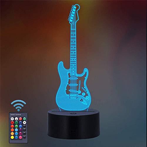Luz nocturna 3D, ilusión óptica, luz nocturna de 16 colores cambiantes, lámpara de luz nocturna con mando a distancia USB, decoración de escritorio, dormitorio, juguetes para guitarra infantil