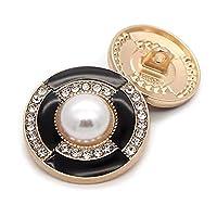 ボタン 衣料品ミシン用品とアクセサリーのための10ピース/ロットボタンファッション女性のコートボタンボタンBalckメタルボタン (Color : Black, Size : 23mm-10pcs)