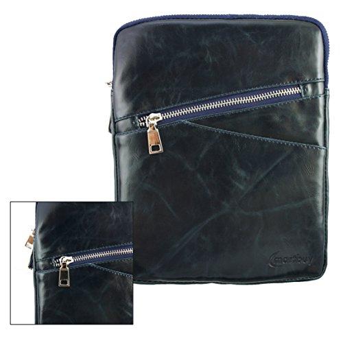 Emartbuy® Navy Blau Crossbody Reisen Messenger Bag Tasche Hülle in Premium PU Leder mit gepolsterten Innenraum & Schulterriemen für geeignet Odys Connect 8+ 7.85 Zoll Tablet