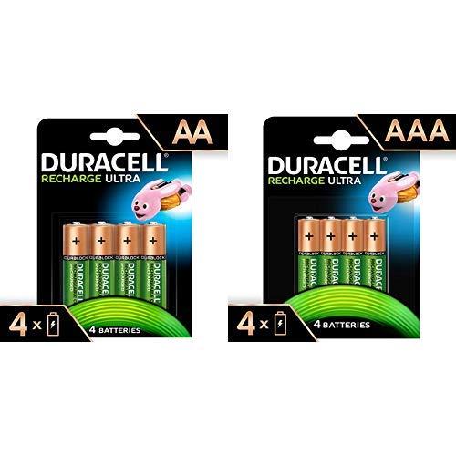 Duracell Ultra HR6DX1500 Akkus mit geringer Selbstentladung (2500mAh) 4er Pack + Recharge Ultra Typ AAA Batterien 850 Mah, 4er Pack
