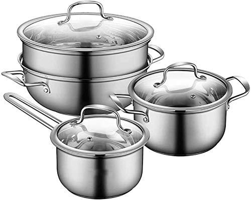 XH&XH Ensemble de casseroles et poêles Ensembles d'ustensiles de Cuisine antiadhésifs 3 pièces avec couvercles en Verre trempé et casseroles et casseroles antidérapantes Stay Cool