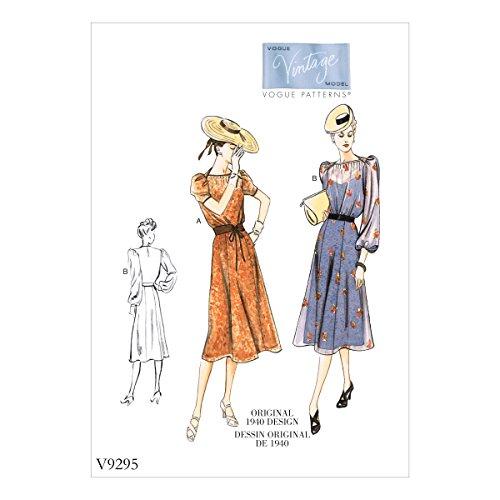 【vogue patterns】ヴィンテージ オリジナル 1940年代デザイン ワンピースドレスの型紙セット サイズ:US6-8-10-12-14 V9295