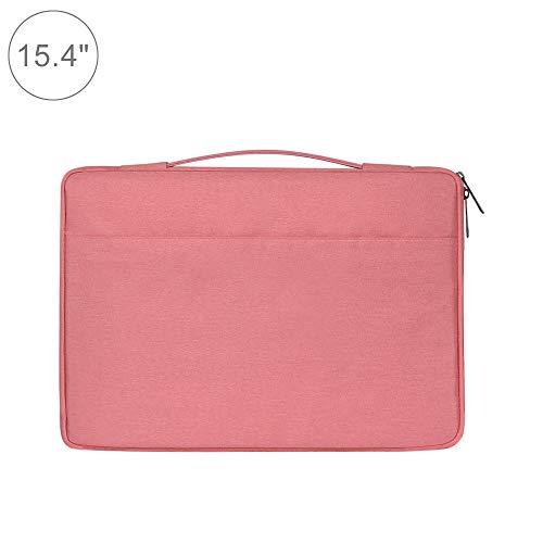 Wakaa 15,4 Zoll Mode lässig Polyester + Nylon Laptop Handtasche Aktentasche Notebook Abdeckung case, for MacBook, Samsung, Lenovo, xiaomi, Sony, Dell, chuwi, asus, hp (schwarz) (Farbe : Rosa)