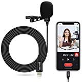 iPhone iPad Recording Lavalier Lapel Lightning Microphone, 119'' Noise Shielded Cable, Professional Omnidirectional Condenser Audio Wired iPhone iOS Mic, for YouTube, Video Recording, Interview, Live