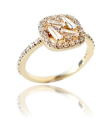 Ah! Jewellery Gold Filled Unique Cluster Ring, Set With Baguette And Brilliant Round Simulated Diamonds. Stamped GL, UK Guarantee 3µ (Q)