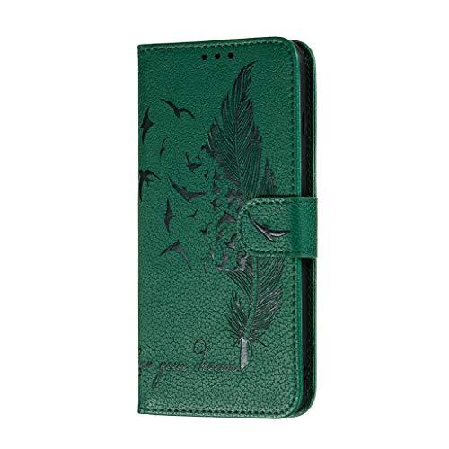 HAOTIAN Hülle für Nokia 5.3 Handyhülle, Ziemlich Retro Geprägt Feder Muster Design PU Leder Buch Stil Brieftasche Flip Cover, Nokia 5.3 Schutzhülle, Grün