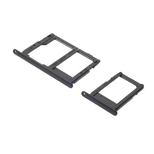 jbTec SIM-Tray/SD-Card Karten-Halter passend für Samsung Galaxy J3 2017 - Slot Schlitten Kartenhalter Karte Rahmen Simkarten Simkartenhalter, Farbe:Schwarz