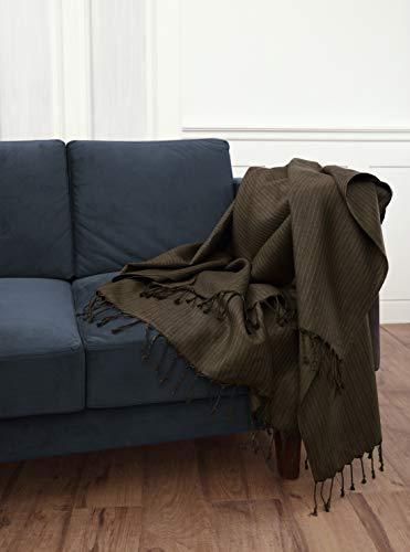 Solino Home Tagesdecke aus Leinen 54 x 70 Inch Herringbone Brown