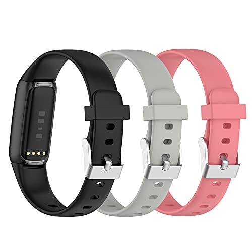 (3 unidades) Chofit Correas compatibles con Fitbit Luxe Correa, Clásico Reemplazo Suave Silicona Deportiva Pulsera Colorida Banda de Brazo para Luxe Actividad Tracker (Pequeño, Negro+Gris+Orquídea)