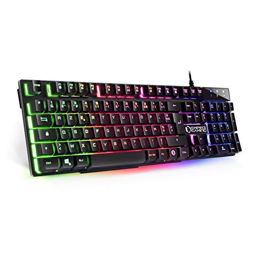 EMPIRE GAMING - Clavier Gamer Nouveau K300 (AZERTY) - 105 Touches Semi-Mécaniques - Rétroéclairage LED RGB - 19 Keys Anti-Ghosting - 12 Raccourcis Multimédia - USB Filaire