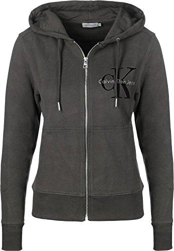 Calvin Klein Jeans Hali True Icon W Hooded Zipper Damen Kapuzenpullover (Meteorite Schwarz, XS)