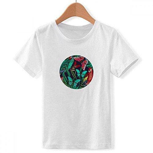 Doe-het-zelf jongens-bloemenplant-vogel-vlinder-Crew hals wit T-shirt