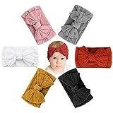Makone Baby Stirnband, Stretchy Dot Haarband mit Bögen Pom Pom Bun 5,5 Zoll Big Hair Bow Stirnband für Säuglingsbabys - Mehrfarbig, 6er Pack
