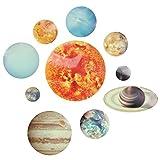 Adhesivo de pared brillante, sistema solar luminoso que brilla en la oscuridad, estrellas y planetas, adhesivo para habitación de niños