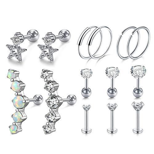 MODRSA 16g 18g Cartilage Helix Earring Hoop Tragus Earrings Stud Diamond Opal Star Surgical Stainless Steel Labret Lip Stud Monroe Piercing Jewelry Silver 6mm 1/4