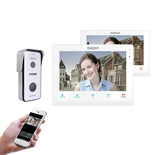 TMEZON Sistema de intercomunicación con timbre inalámbrico para videoportero, monitor wifi de 10 pulgadas con cámara al aire libre con cable 720P (2M1C) Para casas unifamiliares