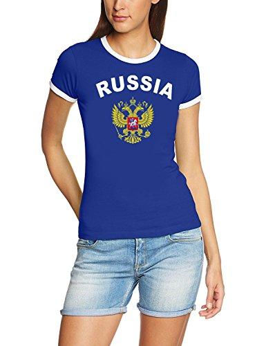 Coole-Fun-T-Shirts Russland Russia T-Shirt Damen Blau, Gr.XL