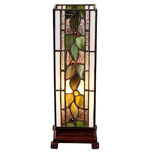 Lumilamp 5LL-5861 Tischleuchte Tischlampe Art Deco Tiffany Stil 13*13*35 cm E14/25W dekoratives buntglas Tiffany Stil