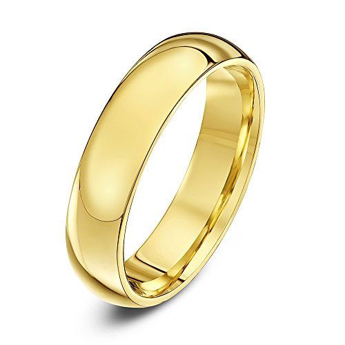 Theia Unisex Super Heavy Court Shape Polished 9 ct Yellow Gold 5 mm Wedding Ring - Size K