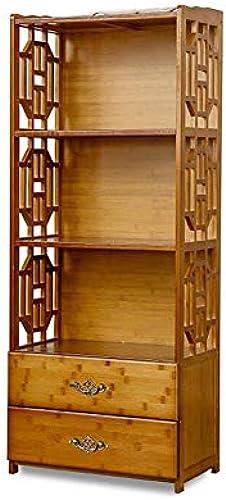 Bücherregale Bambus 2 3 4 Stufen Freistehend Bad Gestell mit Schublade CJC (Größe   42  29  130CM)