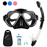 Supertrip Snorkel Set Adults-Snorkeling Set Impact Resistant Tempered Glass Anti-Fog Film Scuba Snorkel Mask & Dry Top Snorkel for Youth(Black)