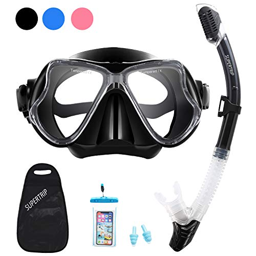 Supertrip Snorkel Set Adults-Anti-Fog Film Scuba Snorkeling Diving Mask with Impact Resistant Temperred Glass|Dry Top Snorkel,2 Mouthpieces 1 Waterproof Case Included (Blue)