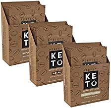 Perfect Keto Instant Coffee: Ketogenic Fat Coffee Sugar Free Cafe Latte w Coconut Oil MCT Creamer for Ketosis on Ketone Friendly Diet. Low Carb, No Ghee Butter (All 3 Flavors)