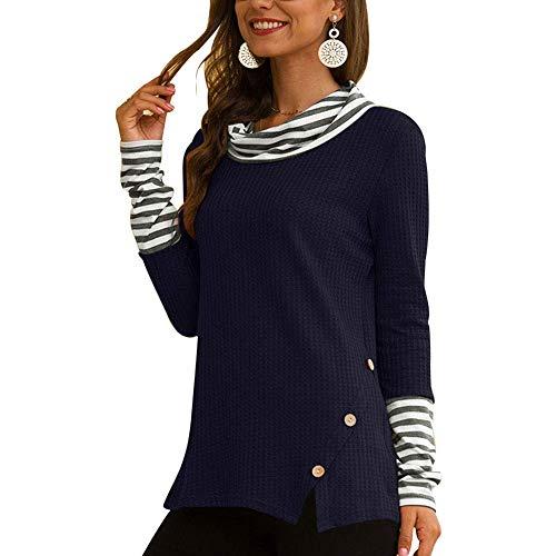 Zeaih Vrouwen Sweater, Casual Lange Mouw Ronde hals T Shirts, Gestreepte Patchwork Lange Mouwen Coltrui Herfst Tuniek Topjes voor Vrouwen
