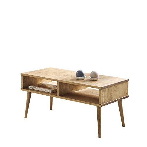 Hogar24-Mesa de Centro diseño Vintage, Madera Maciza Natural con Dos Compartimentos, fabricación Artesanal. 100 cm x 50 cm x 49 cm