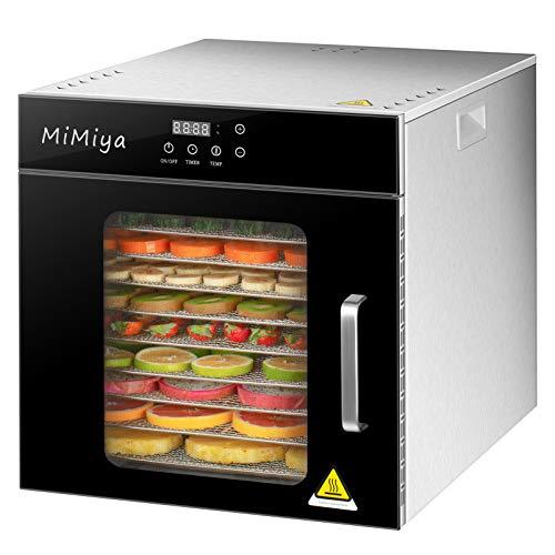MiMiya Deshidratador de Alimentos, 1000W Deshidratador Alimentos Acero Inoxidable con Pantalla LCD Temporizador de 24 Horas, Temperatura Regulable 30~90℃ Deshidratador de Frutas y Verduras, Libre BPA