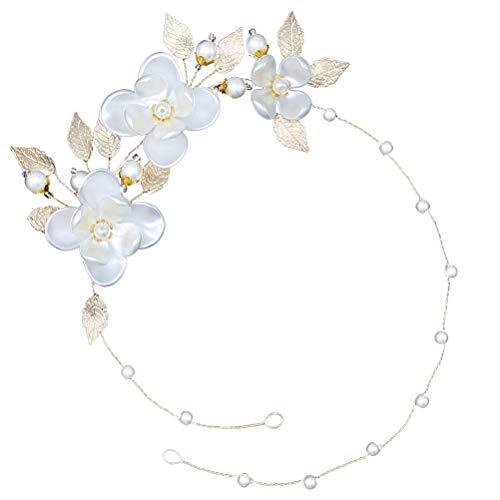 Lurrose 1 diadema de flores de perlas delicada tocado nupcial banda de...