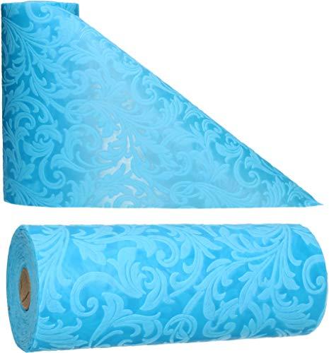 AmaCasa Tischläufer Ornament Wasserabweisend | Tischband mit Lotoseffekt | 30cm/20m | Blau | Dekorativ für Partys und andere Feierlichkeiten | Abwaschbarer Tischläufer zum wiederverwenden