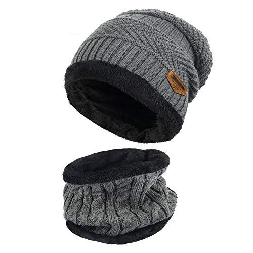 MUCO Wintermütze Schalmütze Unisex Warme Strickmütze Outdoor Winter warme Mütze Schal Set für Damen und Herren