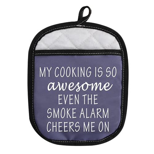 Lustige Ofenpads Topflappen mit Tasche My Cooking Is So Awesome Even The Smoke Alarm Cheers Me On (Rauchmelder Cheers EU)